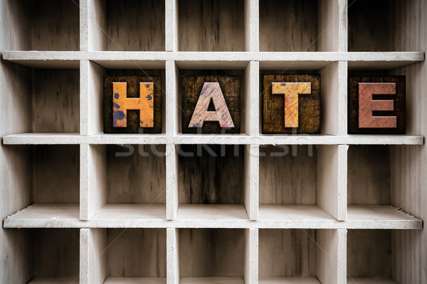 Hate Concept Wooden Letterpress Type in Draw Stock photo © enterlinedesign