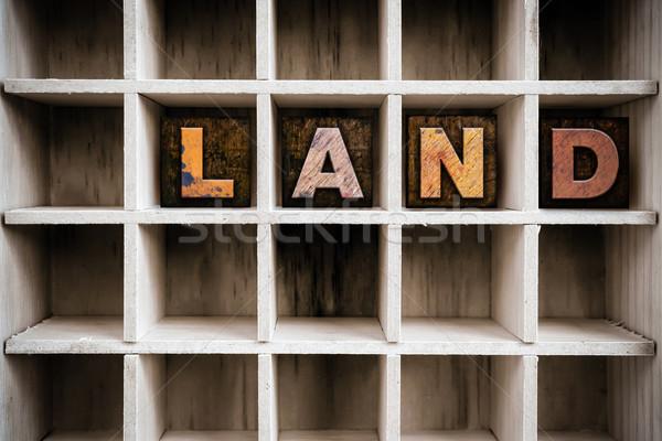 Land Concept Wooden Letterpress Type in Drawer Stock photo © enterlinedesign