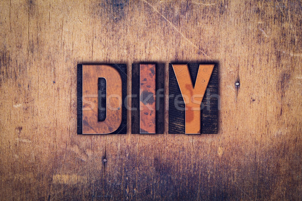 DIY Concept Wooden Letterpress Type Stock photo © enterlinedesign