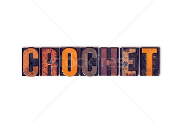 вязанье изолированный тип слово написанный Сток-фото © enterlinedesign