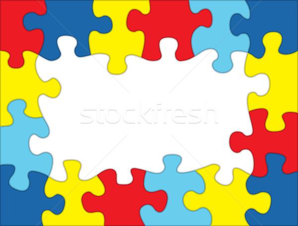 Autizmus színes puzzle keret illusztráció ki Stock fotó © enterlinedesign