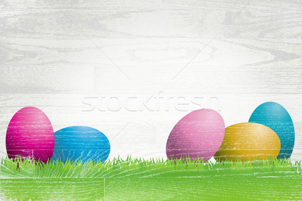 Easter Eggs Painted Over Whitewashed Boards Stock photo © enterlinedesign