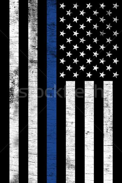 Police Law Enforcemtnt Support Vertical Textured Flag Stock photo © enterlinedesign
