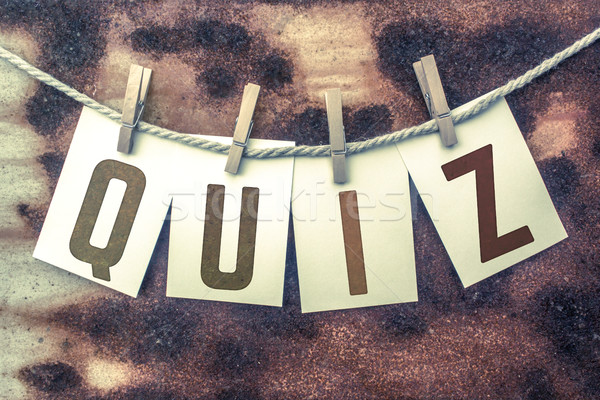 Quiz kaarten woord oude stuk Stockfoto © enterlinedesign