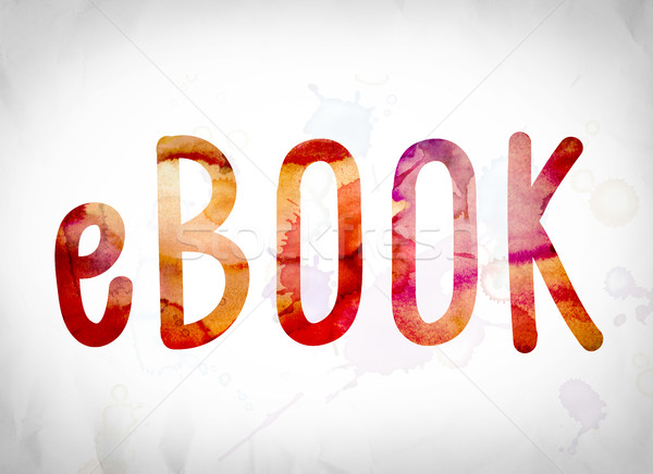 Ebook aquarela palavra arte escrito branco Foto stock © enterlinedesign