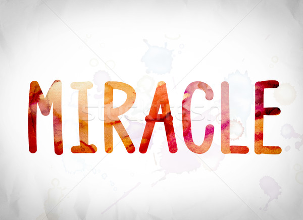Miracle couleur pour aquarelle mot art écrit blanche Photo stock © enterlinedesign