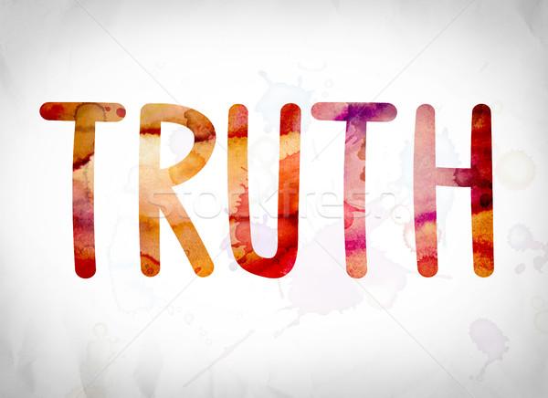 Verdade aquarela palavra arte escrito branco Foto stock © enterlinedesign