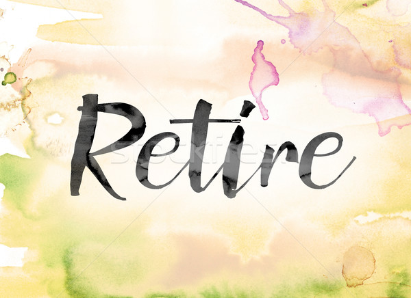 Retire Colorful Watercolor and Ink Word Art Stock photo © enterlinedesign