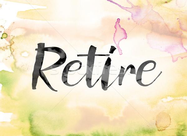 Andare in pensione colorato acquerello inchiostro parola arte Foto d'archivio © enterlinedesign