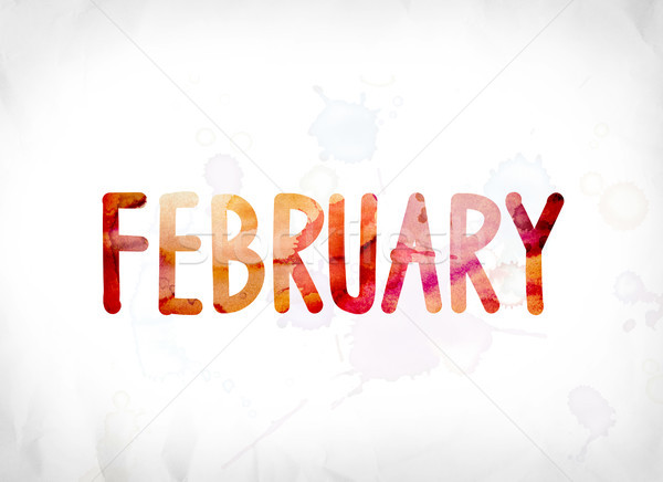 February Concept Painted Watercolor Word Art Stock photo © enterlinedesign