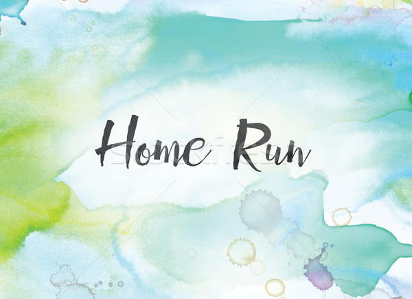 Home Run Concept Watercolor and Ink Painting Stock photo © enterlinedesign