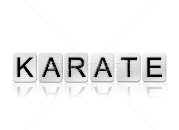Karate csempézett szó izolált fehér írott Stock fotó © enterlinedesign