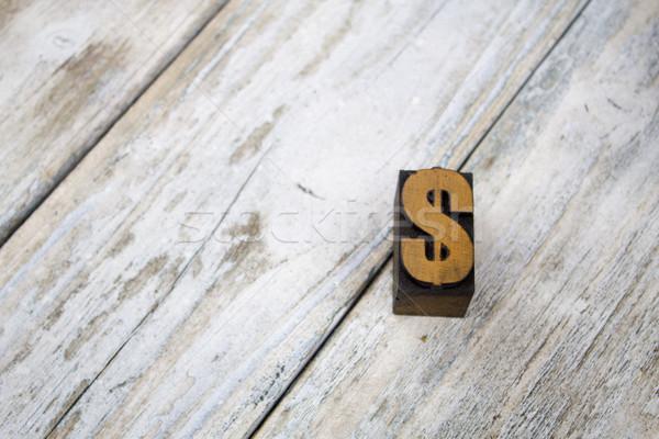 Buchdruck Dollarzeichen Holz Jahrgang Symbol weiß Stock foto © enterlinedesign
