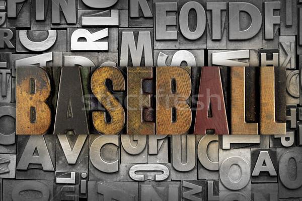 Foto stock: Beisebol · palavra · escrito · vintage · tipo