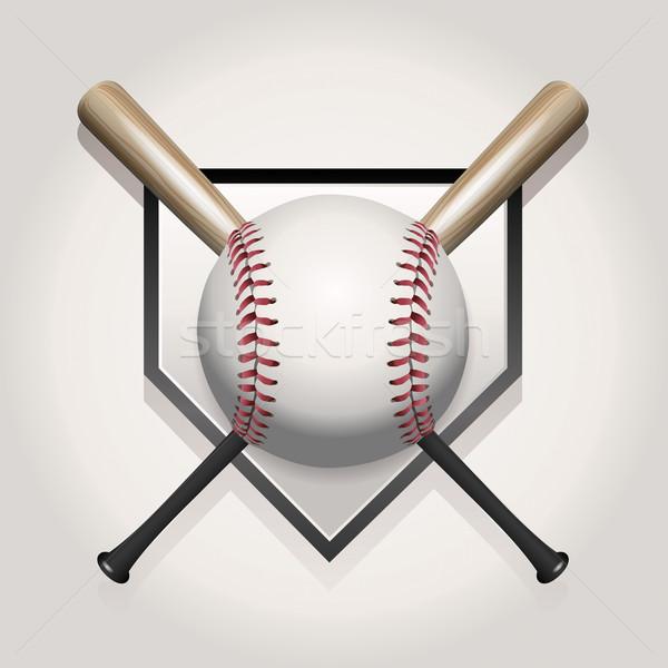 Bate de béisbol ilustración béisbol pelota dos casa Foto stock © enterlinedesign