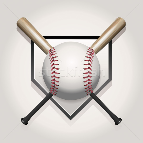 Honkbalknuppel illustratie baseball bal twee home Stockfoto © enterlinedesign