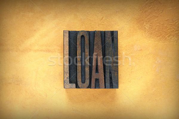 Kölcsön magasnyomás szó írott klasszikus Stock fotó © enterlinedesign