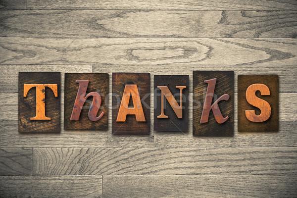 Köszönet fából készült magasnyomás szó írott Stock fotó © enterlinedesign