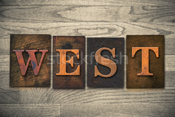 Zachód słowo napisany vintage Zdjęcia stock © enterlinedesign