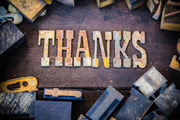 Teşekkürler paslı tip kelime yazılı paslı Stok fotoğraf © enterlinedesign