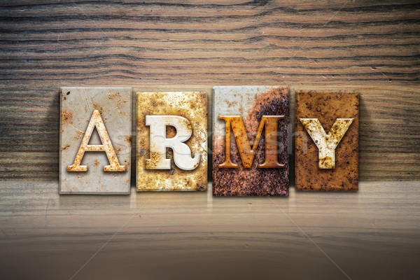 Army Concept Letterpress Theme Stock photo © enterlinedesign