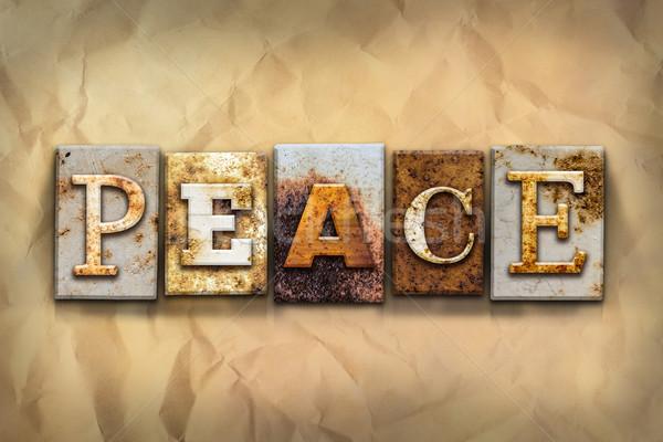 Pace arrugginito metal tipo parola scritto Foto d'archivio © enterlinedesign