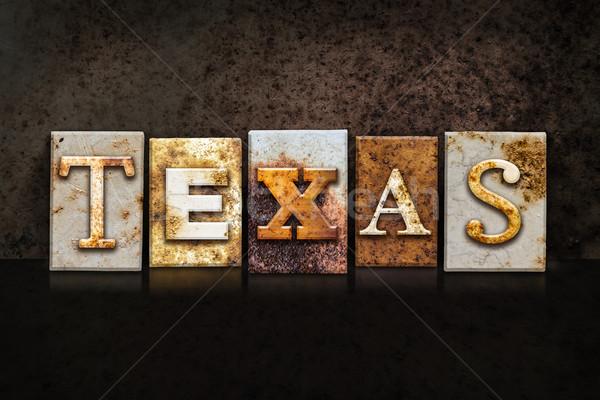 Texas oscuro palabra escrito Rusty Foto stock © enterlinedesign