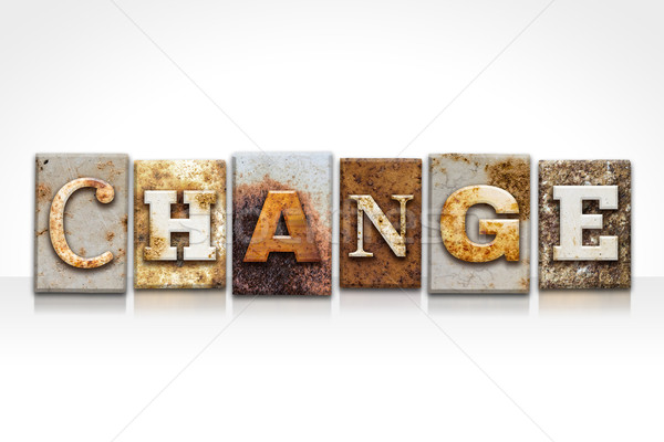 Stock photo: Change Letterpress Concept Isolated on White