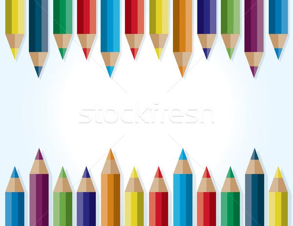 Colored Pencils Border Background Illustration Stock photo © enterlinedesign