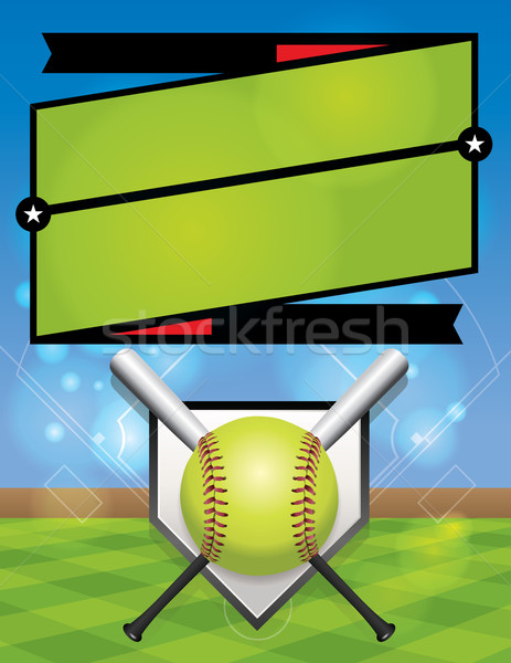 Vector softbal competitie registratie illustratie flyer Stockfoto © enterlinedesign