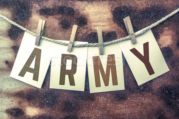 Army Concept Pinned Stamped Cards on Twine Theme Stock photo © enterlinedesign