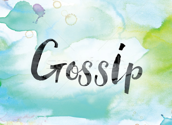 Gossip Colorful Watercolor and Ink Word Art Stock photo © enterlinedesign