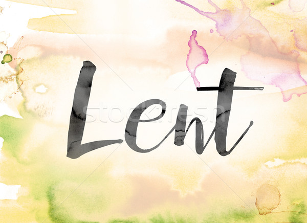 Lent Colorful Watercolor and Ink Word Art Stock photo © enterlinedesign