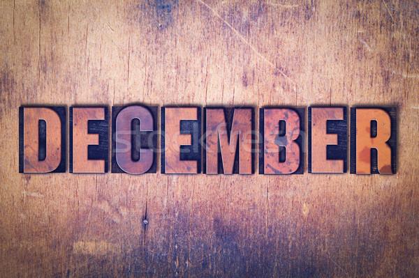 Aralık kelime ahşap yazılı bağbozumu Stok fotoğraf © enterlinedesign