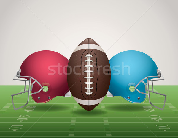 Stock photo: American Football Field, Ball, and Helmets