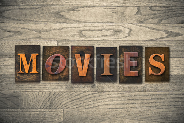 Movies Wooden Letterpress Theme Stock photo © enterlinedesign