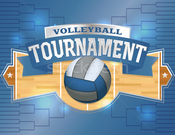 Volleyball Tournament Design Poster Illustration Stock photo © enterlinedesign