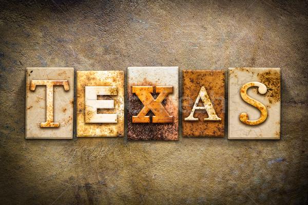 テキサス州 革 言葉 書かれた さびた ストックフォト © enterlinedesign