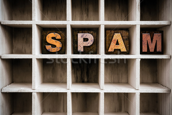 Spam Concept Wooden Letterpress Type in Drawer Stock photo © enterlinedesign