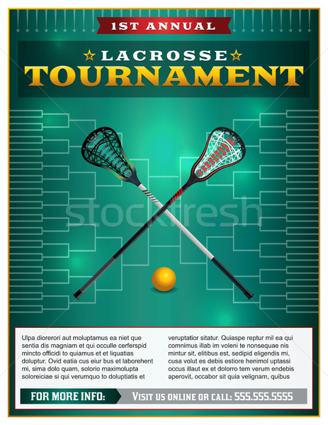 Lacrosse toernooi flyer sjabloon ontwerp vector Stockfoto © enterlinedesign