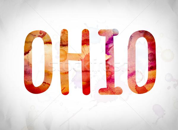 Ohio aquarel woord kunst geschreven witte Stockfoto © enterlinedesign