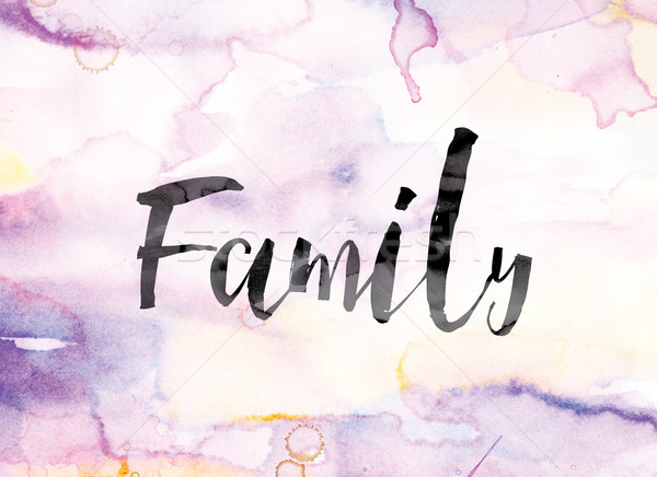 Family Colorful Watercolor and Ink Word Art Stock photo © enterlinedesign
