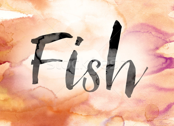 Fish Colorful Watercolor and Ink Word Art Stock photo © enterlinedesign