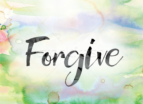 Forgive Colorful Watercolor and Ink Word Art Stock photo © enterlinedesign