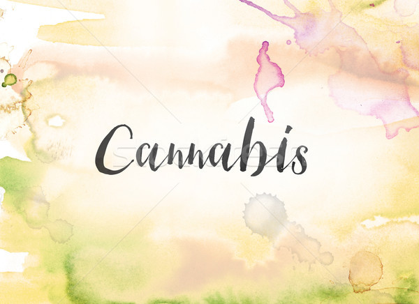 Cannabis Concept Watercolor and Ink Painting Stock photo © enterlinedesign
