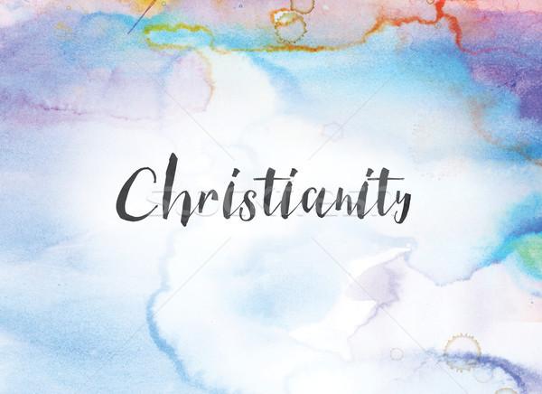 Chrześcijaństwo akwarela atramentu malarstwo słowo napisany Zdjęcia stock © enterlinedesign