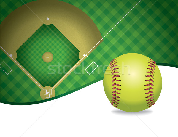 Softball and Field Copyspace Illustration Stock photo © enterlinedesign
