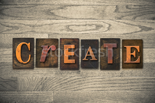 Create Wooden Letterpress Theme Stock photo © enterlinedesign