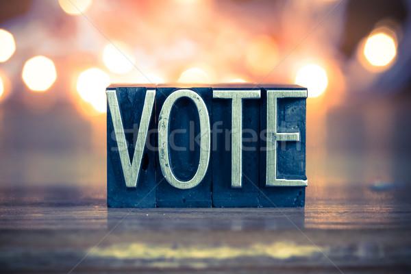 голосования металл тип слово написанный Сток-фото © enterlinedesign