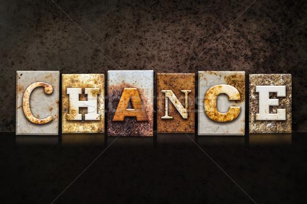 Stock photo: Chance Letterpress Concept on Dark Background